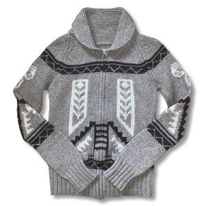 TNA Eagle Moon M Zip Up Wool Sweater Cardigan